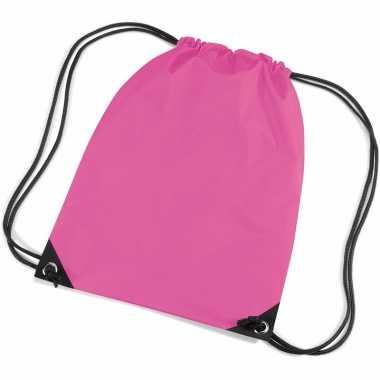 10x stuks fuchsia roze sportdag gymtasjes/zwembad tasjes 45 x 34 cm