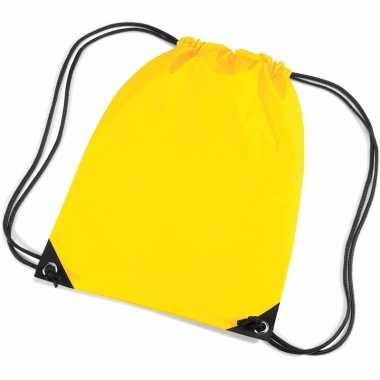 10x stuks gele sportdag gymtasjes/zwembad tasjes 45 x 34 cm