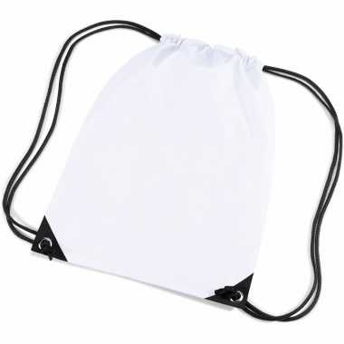 10x stuks witte sportdag gymtasjes/zwembad tasjes 45 x 34 cm