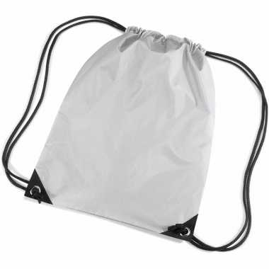 10x stuks zilveren sportdag gymtasjes/zwembad tasjes 45 x 34 cm