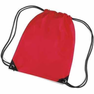 2x stuks rode sportdag gymtasjes/zwembad tasjes 45 x 34 cm