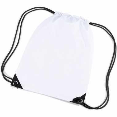 2x stuks witte sportdag gymtasjes/zwembad tasjes 45 x 34 cm