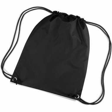 8x stuks zwarte sport gymtasjes