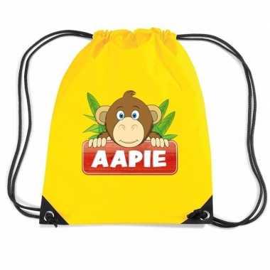 Aapie het aapje gymtas / gymtas geel voor kinderen