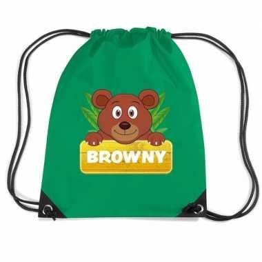 Browny de beer gymtas / gymtas groen voor kinderen