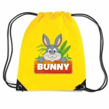 Bunny het konijn gymtas / gymtas geel voor kinderen