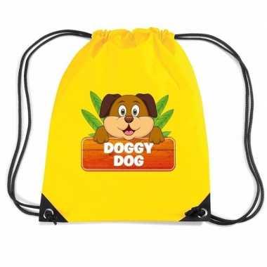 Doggy dog de hond gymtas / gymtas geel voor kinderen