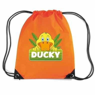 Ducky de eend gymtas / gymtas oranje voor kinderen