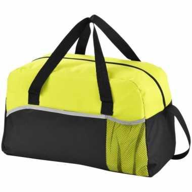 Duffel bag/gymtas zwart/groen 43 cm
