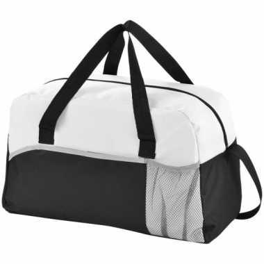 Duffel bag/gymtas zwart/wit 43 cm