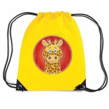 Giraffe gymtas / gymtas geel voor kinderen