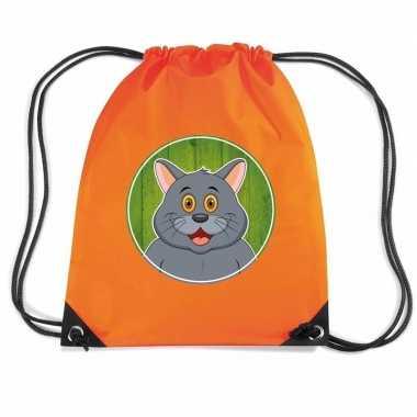 Grijze katten / poes gymtas / gymtas oranje voor kinderen