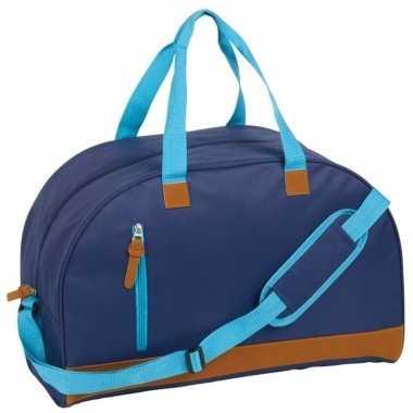 Gymtas donkerblauw/bruin met schouderband 40 liter
