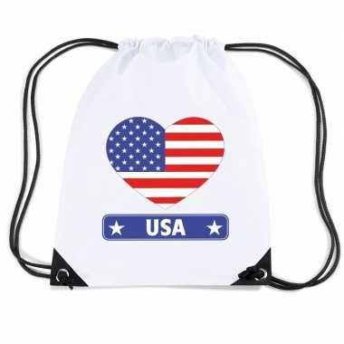 Gymtas met rijgkoord amerika vlag in hart