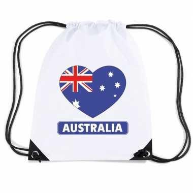 Gymtas met rijgkoord australie vlag in hart