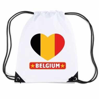 Gymtas met rijgkoord belgie vlag in hart