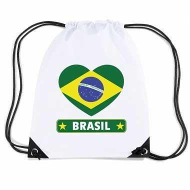 Gymtas met rijgkoord brazilie vlag in hart