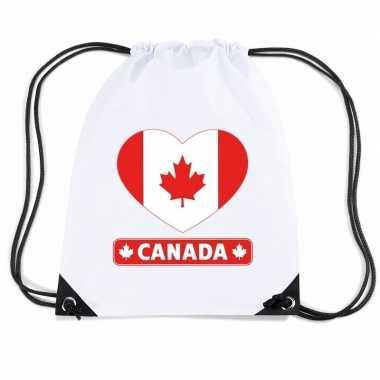 Gymtas met rijgkoord canada vlag in hart