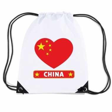 Gymtas met rijgkoord china vlag in hart