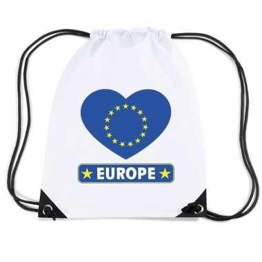 Gymtas met rijgkoord europa vlag in hart