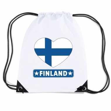Gymtas met rijgkoord finland vlag in hart