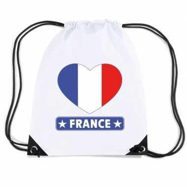 Gymtas met rijgkoord frankrijk vlag in hart