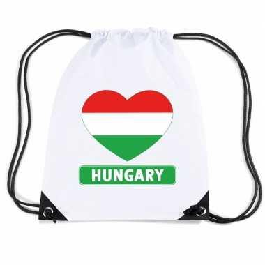 Gymtas met rijgkoord hongarije vlag in hart