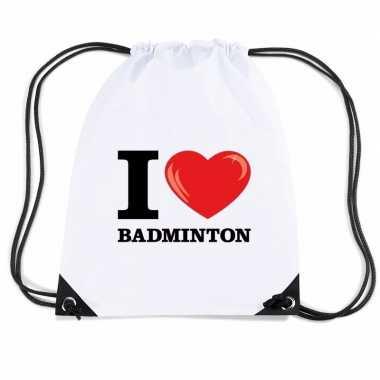 Gymtas met rijgkoord i love badminton