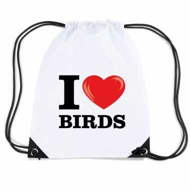 Gymtas met rijgkoord i love birds