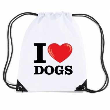 Gymtas met rijgkoord i love dogs