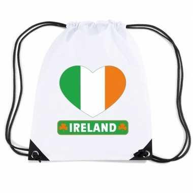 Gymtas met rijgkoord ierland vlag in hart