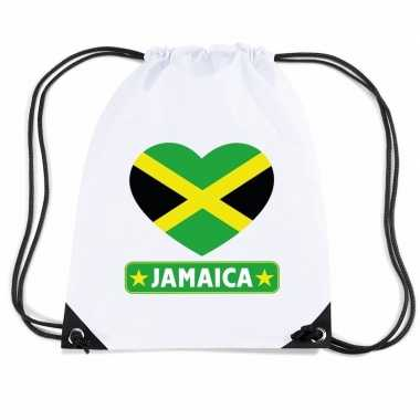 Gymtas met rijgkoord jamaica vlag in hart