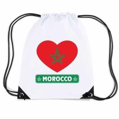 Gymtas met rijgkoord marokko vlag in hart