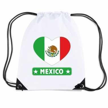 Gymtas met rijgkoord mexico vlag in hart
