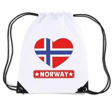 Gymtas met rijgkoord noorwegen vlag in hart
