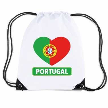 Gymtas met rijgkoord portugal vlag in hart