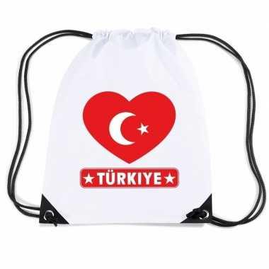 Gymtas met rijgkoord turkije vlag in hart