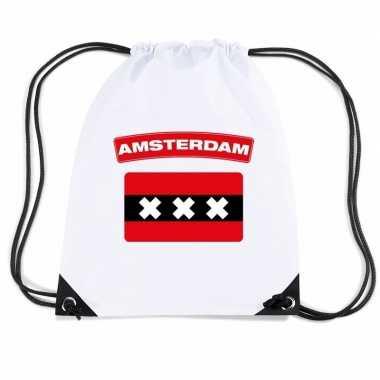 Gymtas met rijgkoord vlag amsterdam