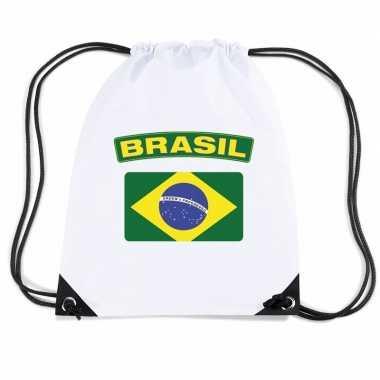 Gymtas met rijgkoord vlag brazilie