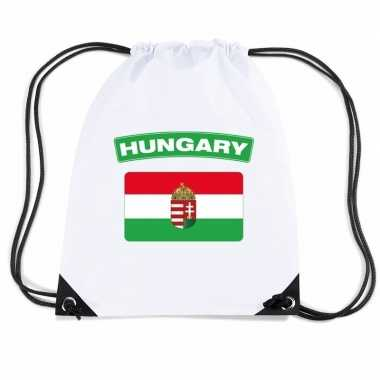 Gymtas met rijgkoord vlag hongarije