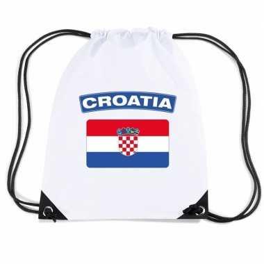 Gymtas met rijgkoord vlag kroatie