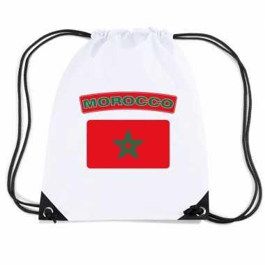 Gymtas met rijgkoord vlag marokko