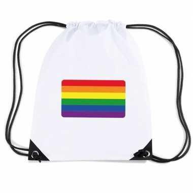 Gymtas met rijgkoord vlag regenboog