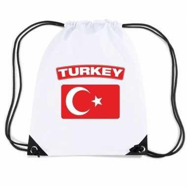 Gymtas met rijgkoord vlag turkije
