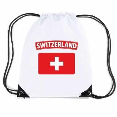 Gymtas met rijgkoord vlag zwitserland