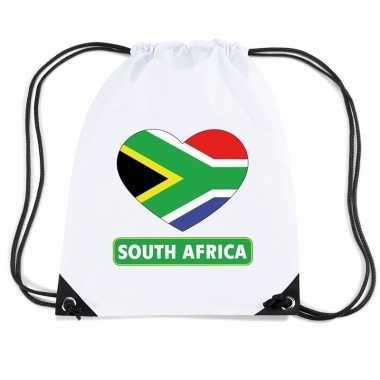 Gymtas met rijgkoord zuid afrika vlag in hart