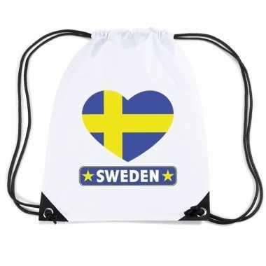 Gymtas met rijgkoord zweden vlag in hart