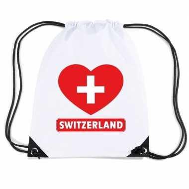 Gymtas met rijgkoord zwitserland vlag in hart