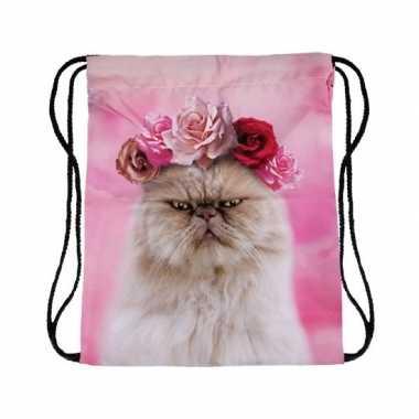 Gymtas roze met katten/poezen kop