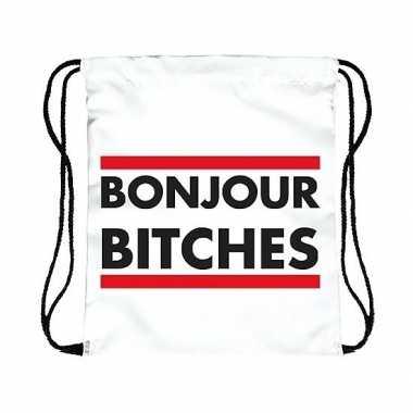 Gymtas wit bonjour bitches